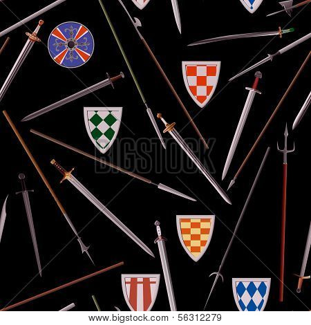 Seamless Background Cold Weapons Of The Middle Ages.