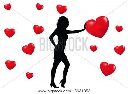 Girl And Hearts