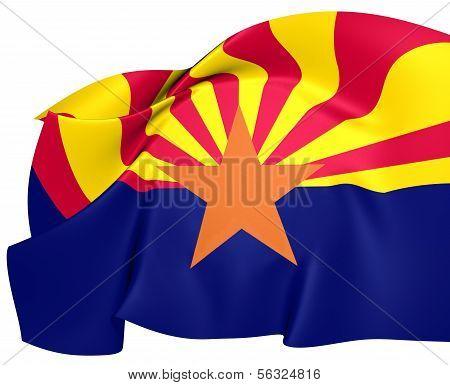 Flag of Arizona, USA Against White Background. poster