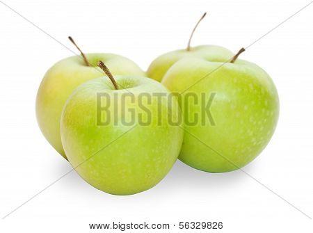 Four Green Granny Smith Apple
