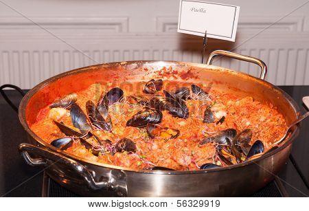 Seafood Paella In Fry Pan