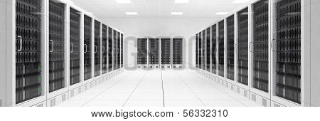 Datacenter With Two Rows Of Computers Central View