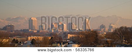 Panoramic Scenic Landscape Salt Lake City Utah Downtown Wasatch Mountains