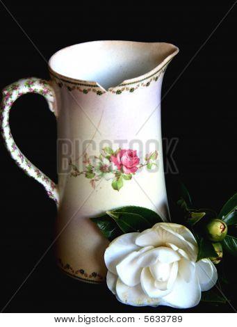 Antique Jug and Camellia