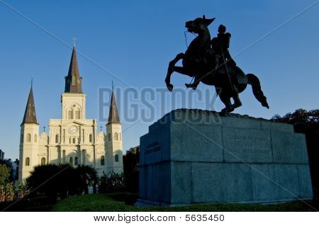 New Orleans Jackson Square Statue With St. Louis Cathedral