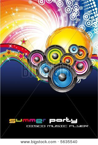 Abstract Music Background with high contrast colors