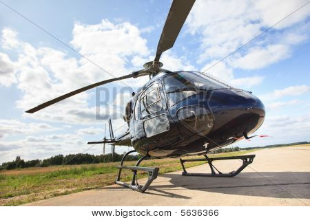 Helicopter On Landing Strip