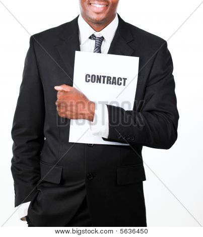 Close-up Of A Businessman Holding A Contract