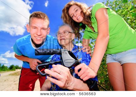 Teens and grandma