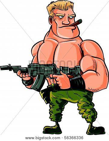Cartoon muscle soldier with big machine gun