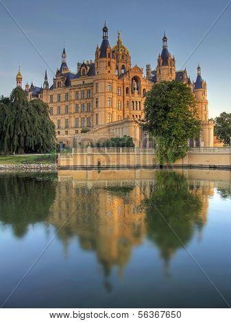 Castle of Schwerin in evening dawn