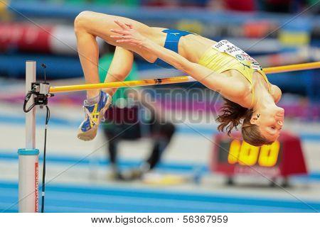 GOTHENBURG, SWEDEN - MARCH 2 Emma Green Tregaro (SWE) competes in the  women's high jump event during the European Athletics Indoor Championship on March 2, 2013 in Gothenburg, Sweden.