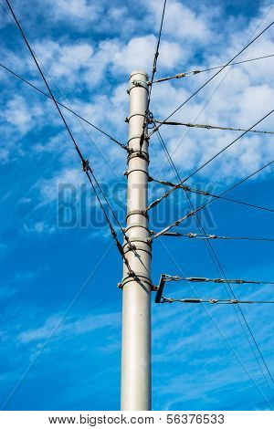 train catenary and power line cables