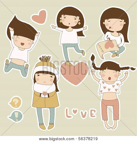Valentine stickers with girl in love