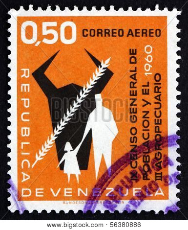 Postage Stamp Venezuela 1961 Cow's Head, Grain, Man And Child