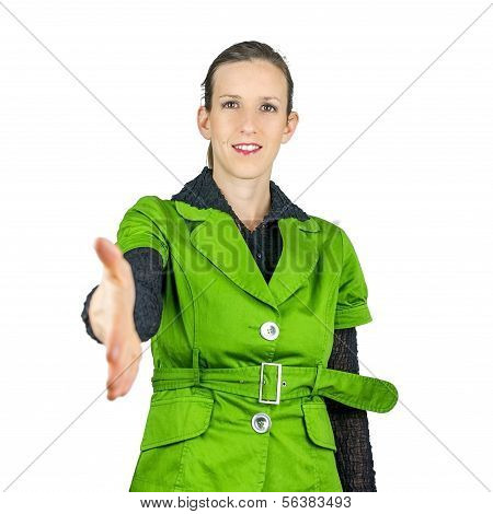 Attractive woman offering her hand in a handshake to clinch a deal in greeting in congratulations or to finalise a business transaction poster