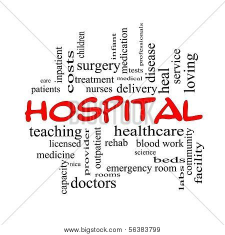 Hospital Word Cloud Concept in red caps with great terms such as doctors nurses heal medicine and more. poster