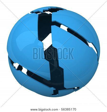 Blue shattered ball, 3d