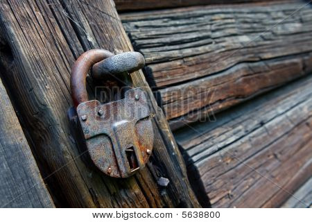 Old locked padlock