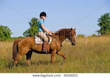 poster of Girl riding her horse through open field