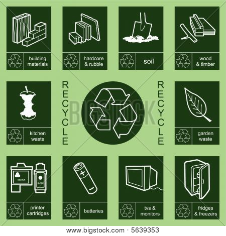 An environmental recycling sign collection individually layered poster