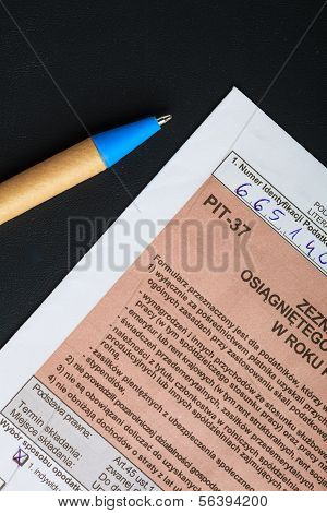 Filling In Polish Individual Tax Form Pit-37 For Year 2013
