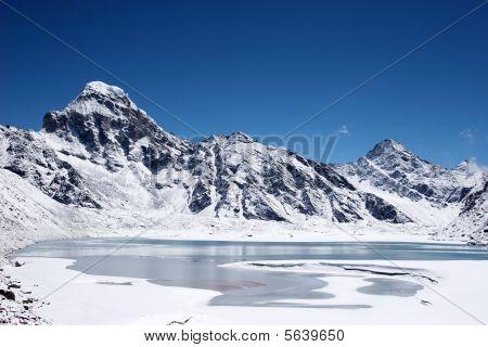 Icy Lake And Mountains, Himalaya, Nepal