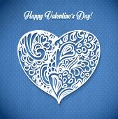 Happy Valentine's Day!  lacy hearts vector greeting card. poster