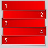 Vector red paper banner list with numbers poster