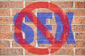 """""""No sex"""" sign on red brickwall surface as a concept of homophobia or abstinence poster"""