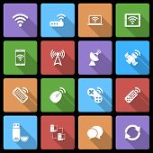 Wireless Devices Icons Set with Long Shadow poster