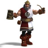 3D rendering of the king of the fantasy dwarves with clipping path and shadow over white poster