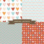 Set of simple seamless patterns. Great for Valentines day poster