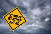 High resolution image of stormy weather illustrated sign poster