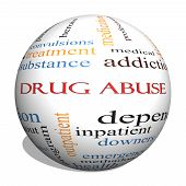 Drug Abuse 3D Sphere Word Cloud Concept with great terms such as addiction heroin disease relapse and more. poster