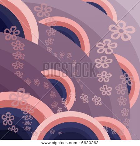 pattern  in the manner of  circles  with  flowers poster