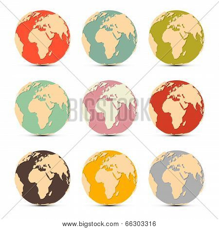 Retro Paper Vector Earth World Globe Map Icons