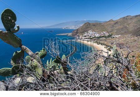 Panorama of beach Las Teresitas, Tenerife, Canary Islands, Spain