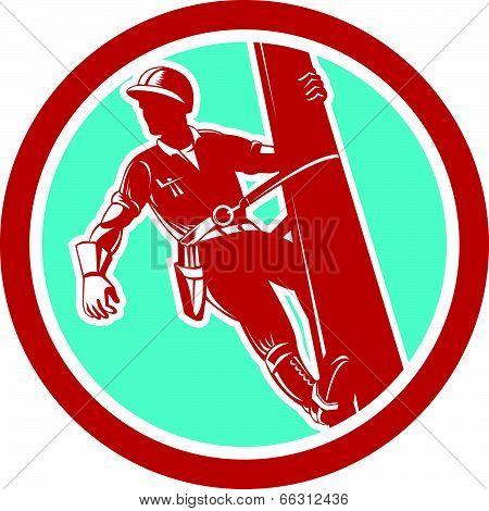 Power Lineman Repairman Electrician Climbing Retro