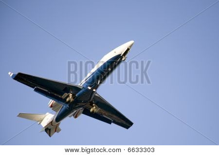 Corporate Blue Jet Taking-off
