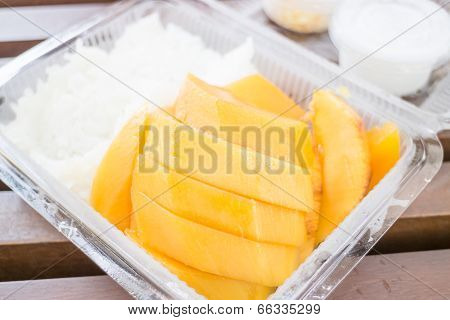 Close Up Dessert Box Of Sweet Mango And Sticky Rice