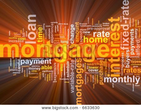 Mortgage Word Cloud Glowing