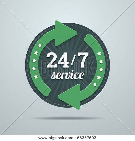 24/7 Hours Service Sign.