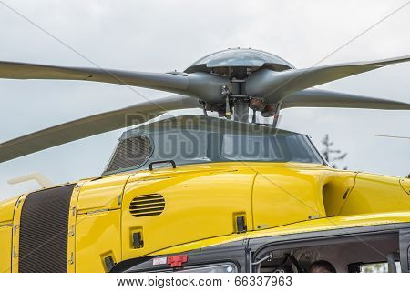 Yellow rescue helicopter propeller close-up