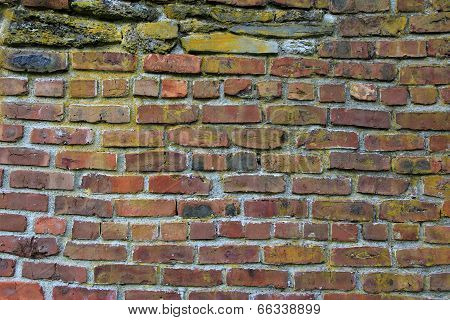 Old red brick wall discolored with age, showcases the craftsmanship of masonry. poster
