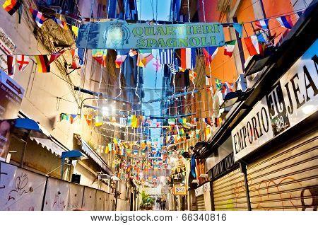 famous Quartieri Spagnoli street view in Naples, Italy