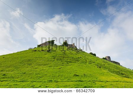 Castle ruins on hillside Corfe Castle Isle of Purbeck Dorset England built by William the Conqueror