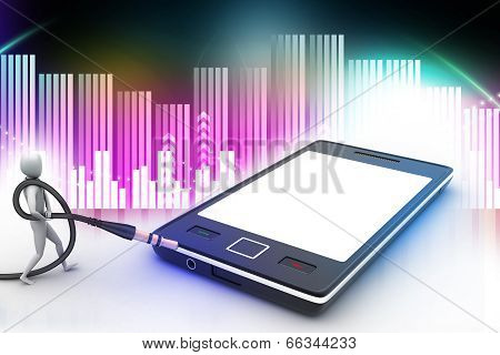 3d graphic with stylish man icon on a smart phone
