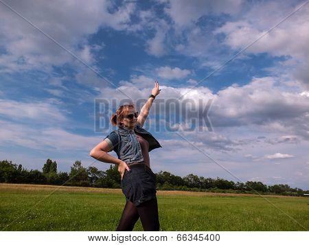 Female  Blue Sky Green Meadow Jeans