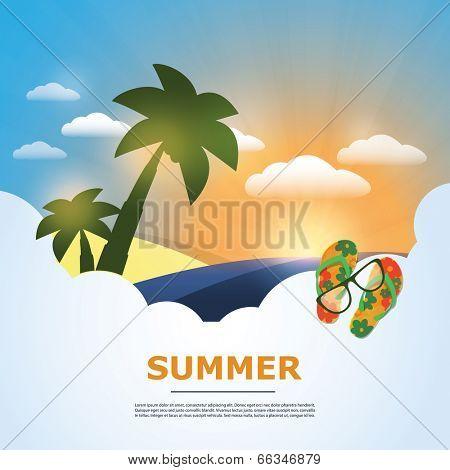 Summer Background - Beach, Sunshine, Palm, Sand, Sunglasses and Flip Flops. Eps 10 Stock Vector Illustration